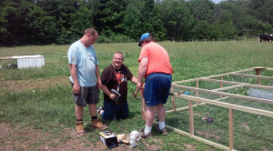 Logan, Adam and Shawn build a new chicken tractor